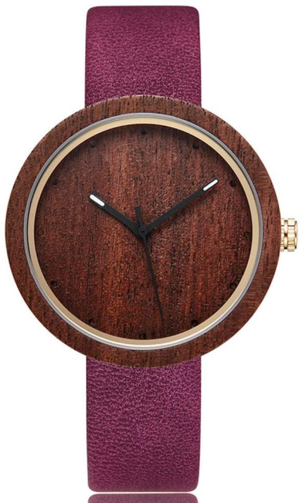 WRENDYY Wooden Watch Wood Bamboo Dial Watch Men Women Couple Wristwatch Wooden Watches Simple Style Male Female Brown Leather Band Clock