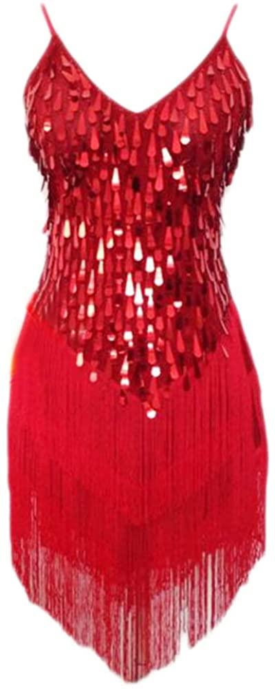 Latin Rumba Cha,cha Tassel Dance Dress Water Drop Sequins Dance Skirt,Red