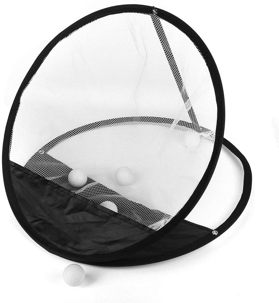 Monkibag Golf Practice Hitting Net 20inch Portable Golf Chipping Net Golf Training Net Hitting Aid Golf Practice Net (Color : Black+White, Size : One Size)