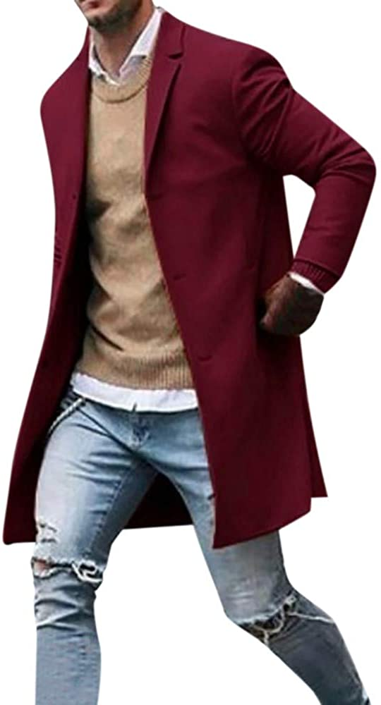 nightfall Men's Coats Lapel Neck Plain Color Elegant Wool Coats Winter Long Jacket Single Breasted Overcoat Slim Fit
