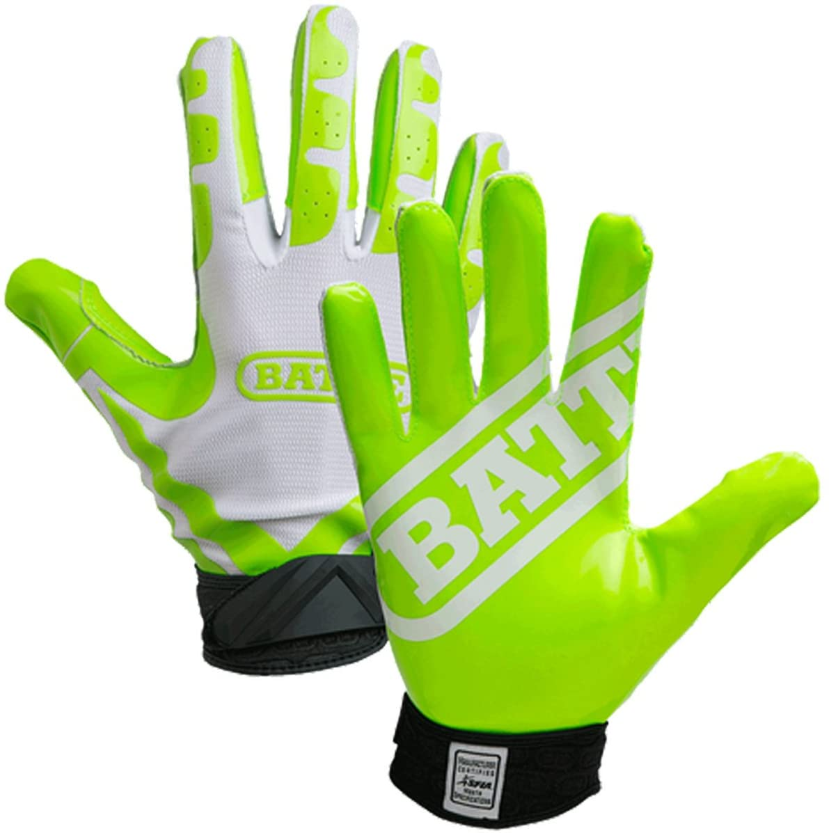 Battle Sports Science Receivers Ultra-Stick Football Gloves - White/Neon Green