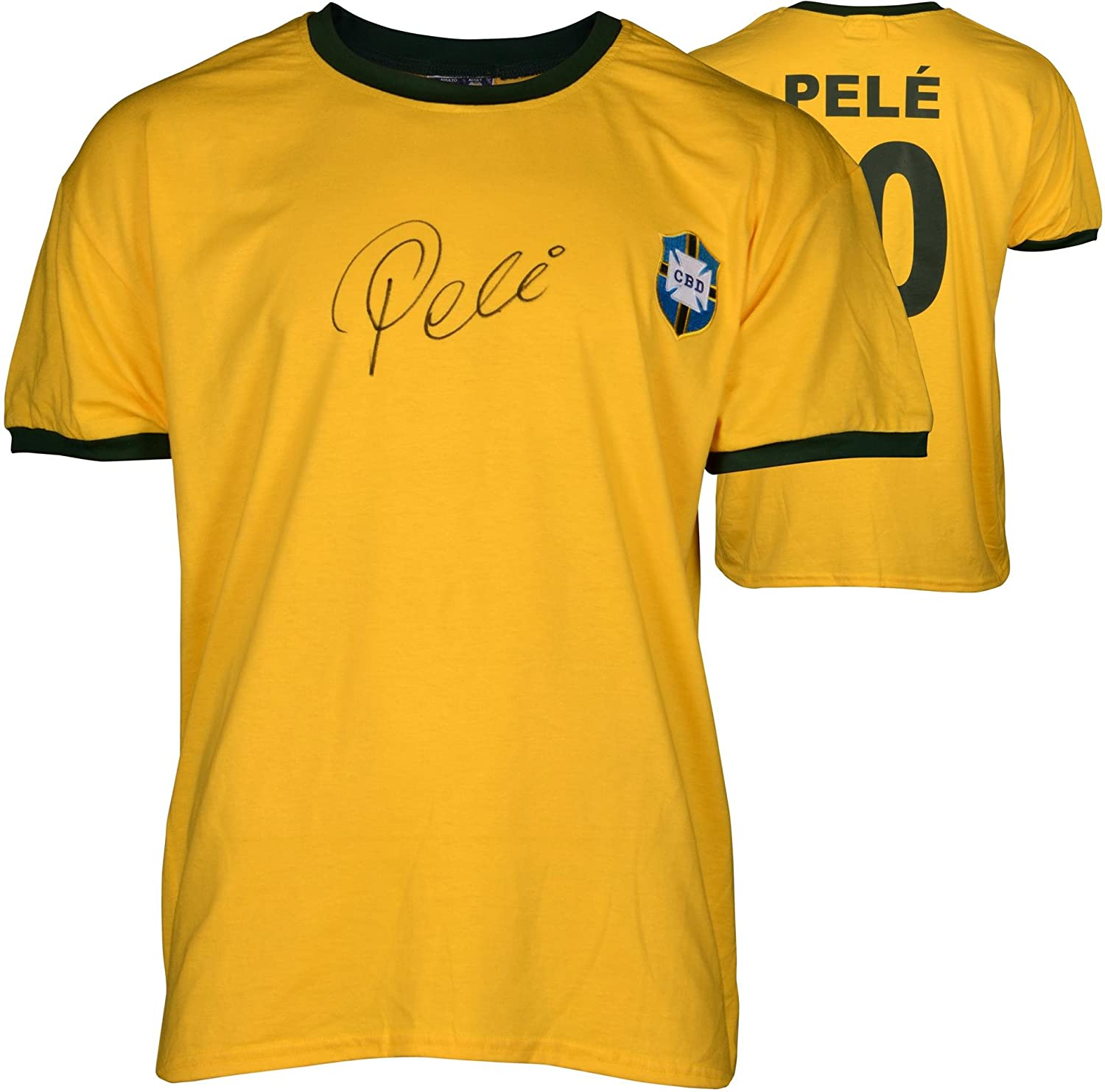 Pele Signed Toffs Brazil National Team Yellow Jersey - Fanatics Authentic Certified - Autographed Soccer Jerseys