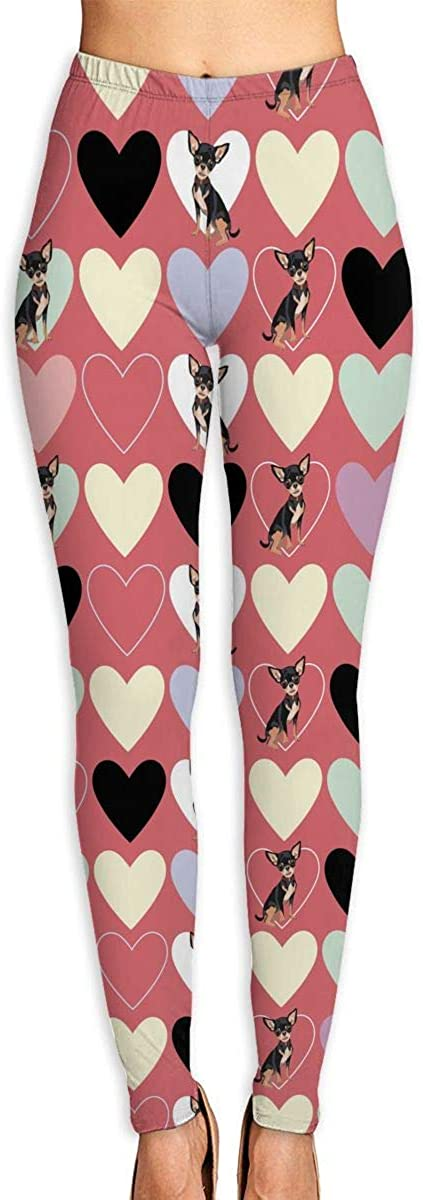 XIKEWL Women's Yoga Pants Chihuahua and Colored Hearts Workout Stretchy Light Sport Leggings