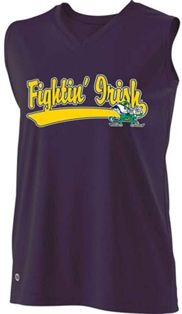 Holloway Authentic Sports Shop Sleeveless V-Neck Notre Dame Fighting Irish Girls Curve Dry-Excel Adult Medium Licensed NCAA College Replica Jersey