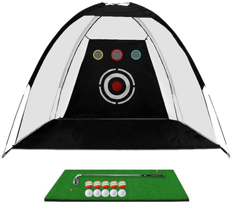 Monkibag Golf Practice Hitting Net 1 Golf Hitting Practice Cage 1 Floor Mat 1 Golf Club 10 Practice Balls 1 Practice Target Net (Color : Black, Size : One Size)