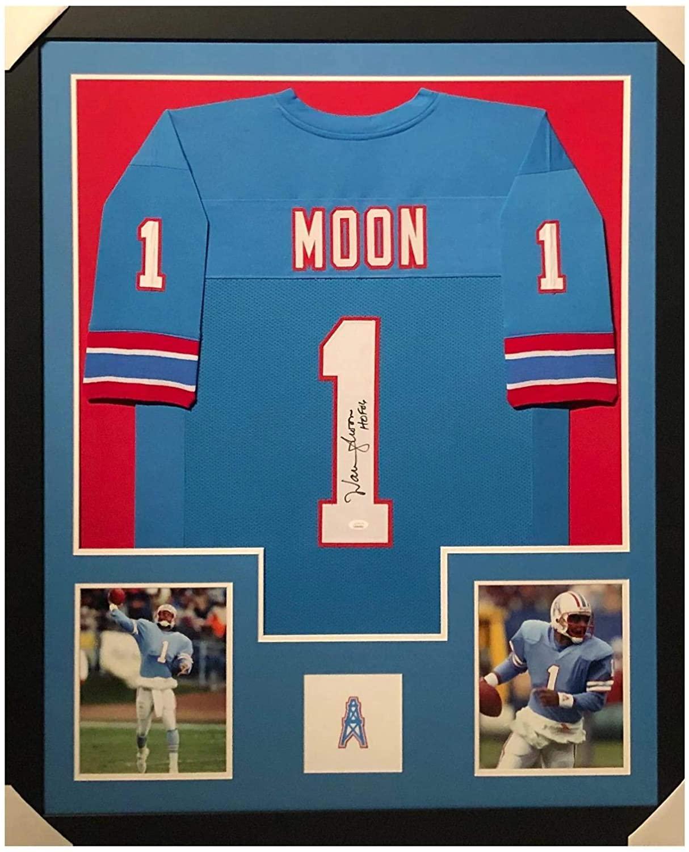 Warren Moon Signed Jersey - HOF 06 Framed Vertical Layout Pro Edition Blue) - JSA Certified - Autographed NFL Jerseys