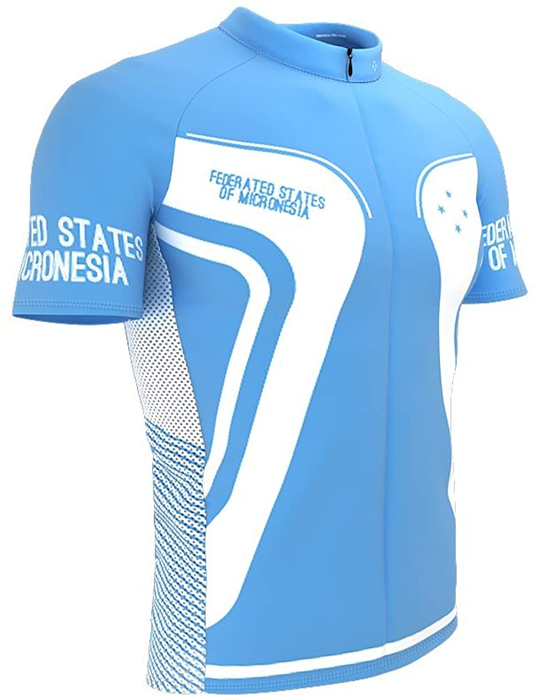 ScudoPro Federated States of Micronesia Full Zipper Bike Short Sleeve Cycling Jersey for Men