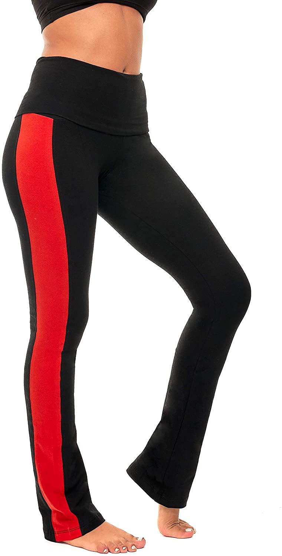 DEAR SPARKLE Bootcut Fold Over Leggings for Women | Slim Look Bootleg Yoga Pants w Pocket + Plus Size (C5 F)