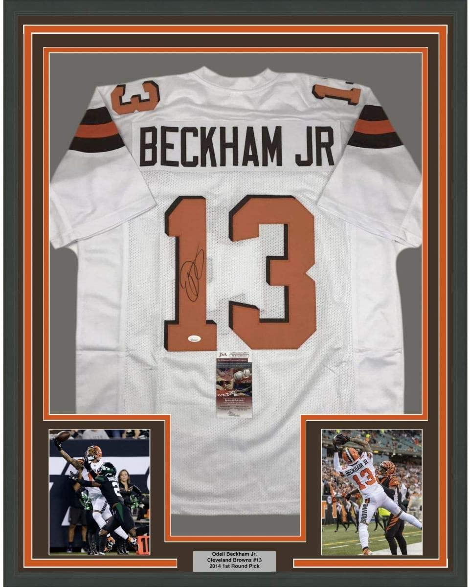 Framed Autographed/Signed Odell Beckham Jr. 33x42 Cleveland White Football Jersey JSA COA