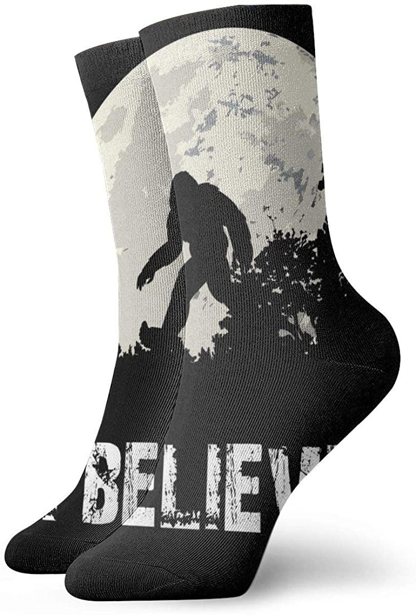 I Believe Bigfoot Short Crew Socks Athletic Tube Socks For Men Women