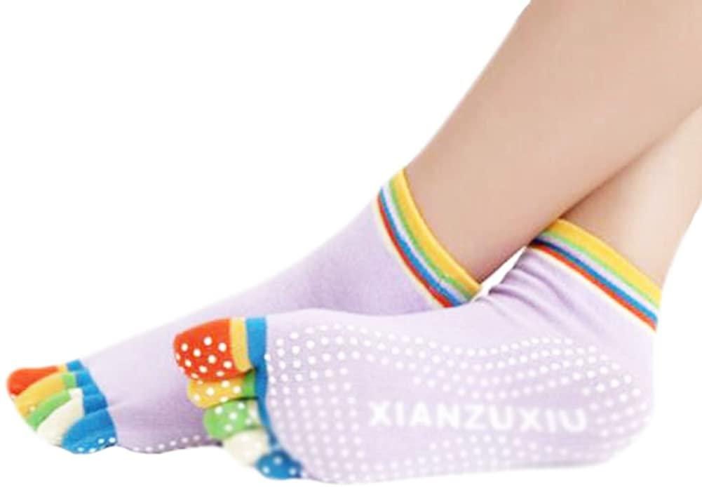 George Jimmy Purple Thicken Non Slip Women Cotton Toe Yoga Socks