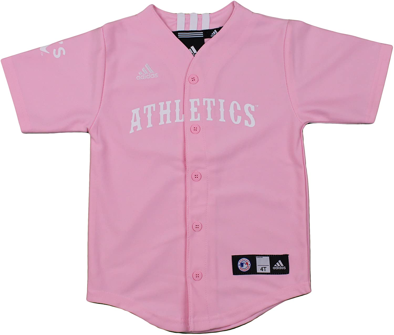 adidas Oakland Athletics MLB Big Girls Screen Printed Jersey, Pink