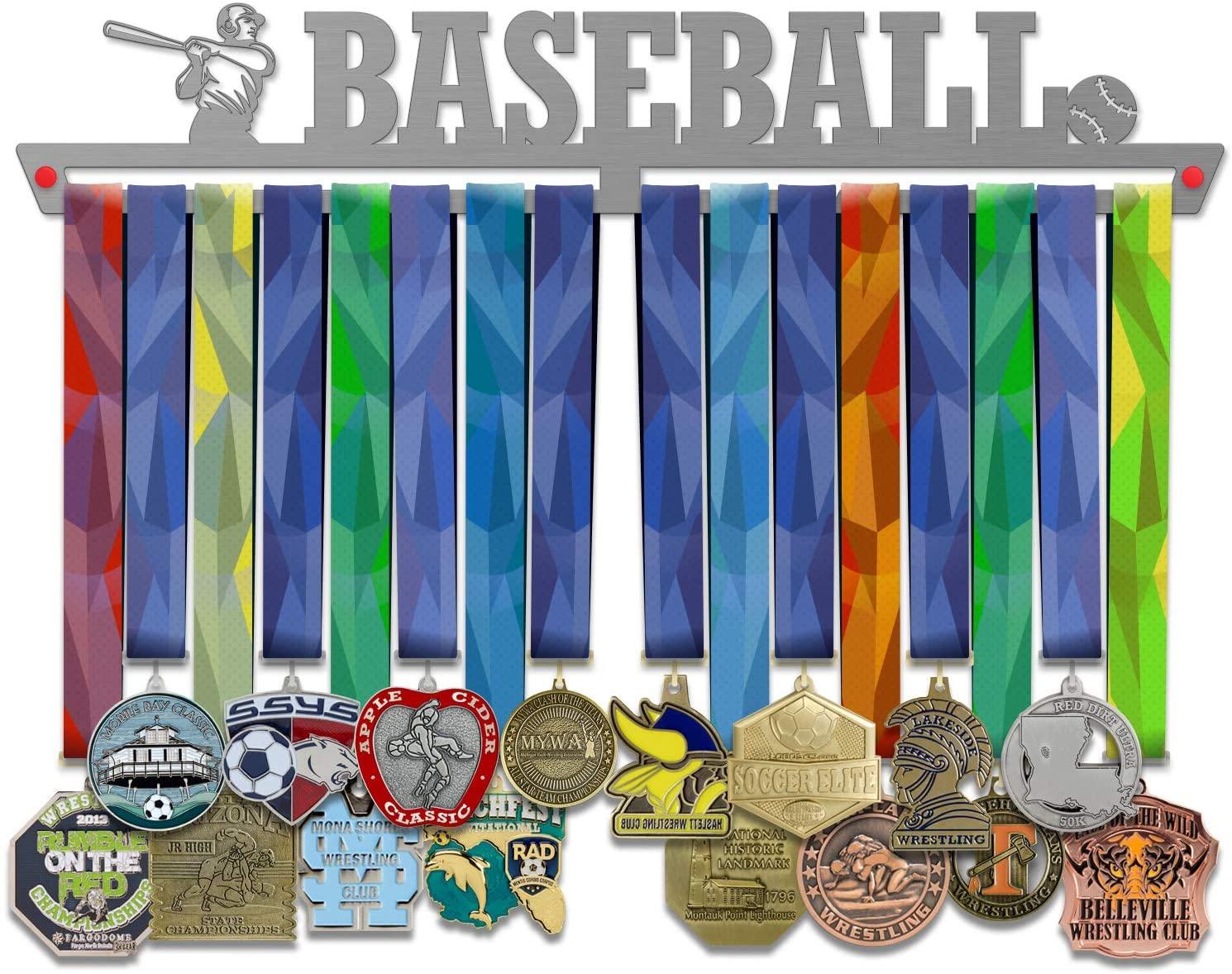 VICTORY HANGERS Baseball Medal Hanger Display V2 - Wall Mounted Award Metal Holder - 100% Stainless Steel Rack for Champions
