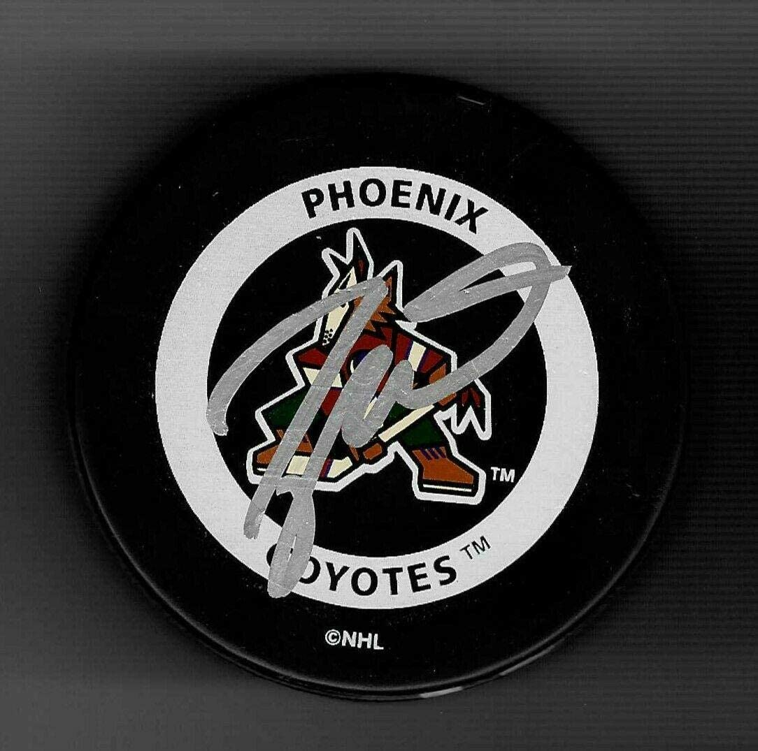 Signed Taylor Hall Puck - Phoenix Arizona Coyotes Throwback Logo Official - Autographed NHL Pucks