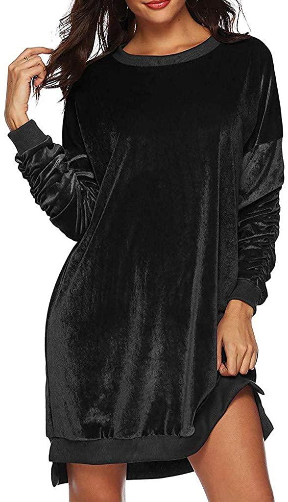 nightfall Women's Gold Velvet Long Sleeve Pockets Casual Loose T-Shirt Dresses Autumn Long Pullover