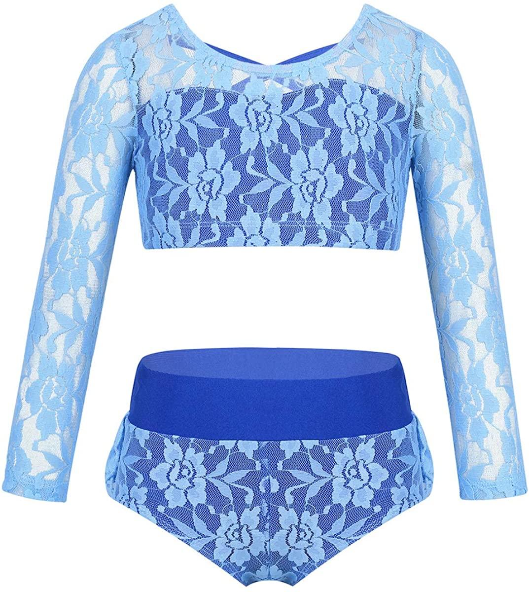iiniim Kids Girls 2 Pieces Dancing Sports Outfits Gymnastic Leotard Long Sleeves Crop Top with Shorts Tankini Swimwear