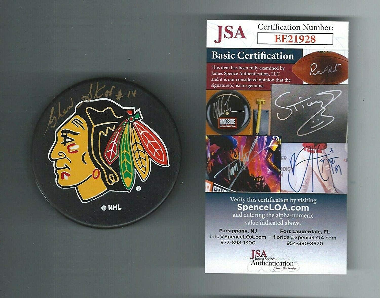 Glen Skov Autographed Hockey Puck - Chicago Blackhawks Ravens Athletic COA - JSA Certified - Autographed NHL Pucks