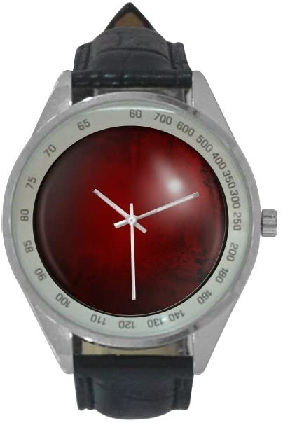 QUICKMUGS2U 3D Effectvie Red Leather Texture Red Button Design Men's Leather Strap Analog Quartz Watch Wrist Business Casual Watch For Men Father