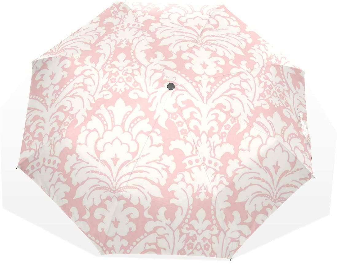 HangWang Umbrella Simple Pink Damask Travel Golf Sun Rain Windproof Umbrellas with UV Protection for Kids Girls Boys