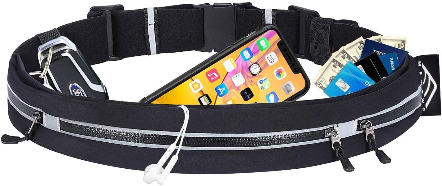Mewtwo Running Belt for Phone Waterproof Sports Waist Bag, Running Waist Belt with 3 Pockets, Workout Belt iPhone Runner Waist Pack for Running, Gym, Cycling, Marathon
