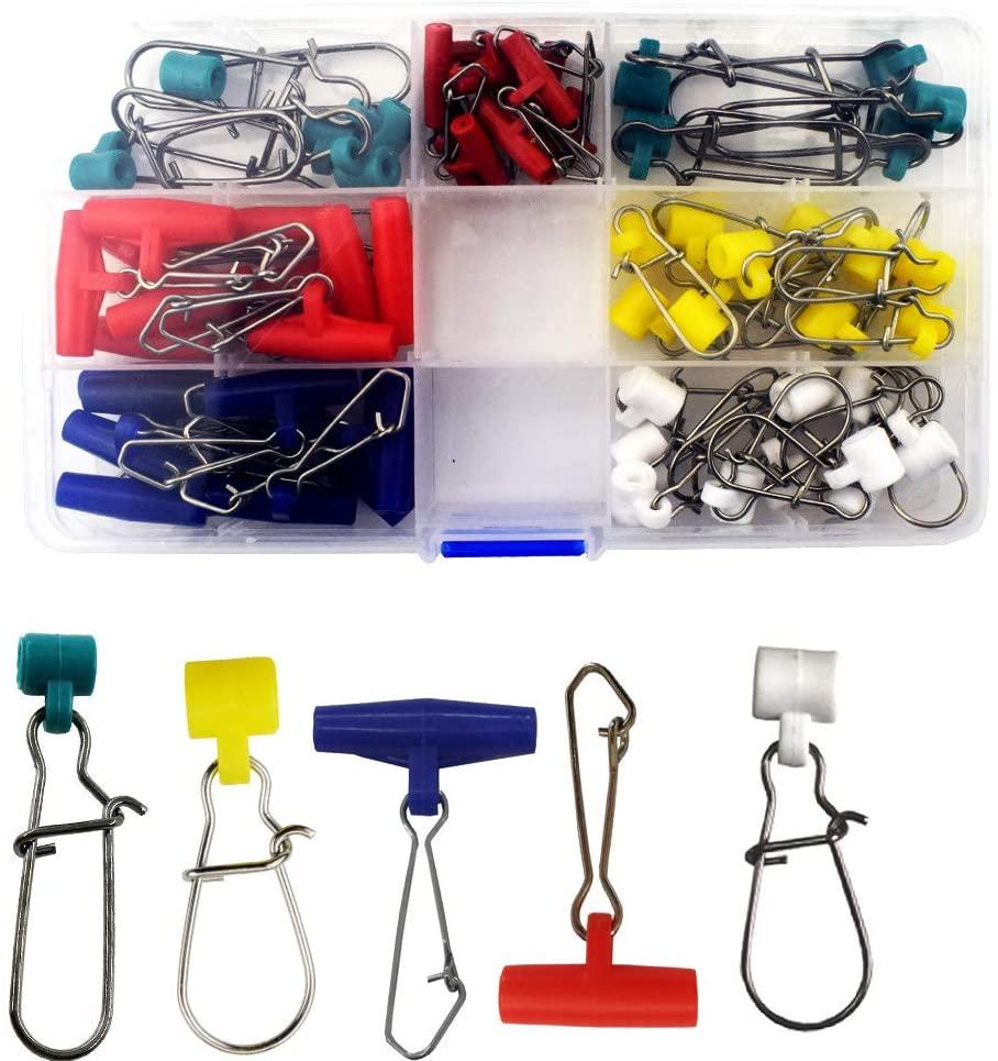 50pcs Fishing Line Sinker Slide Plastic Head Fishing Swivel High Strength Stainless Steel Braid Line Safety Snap