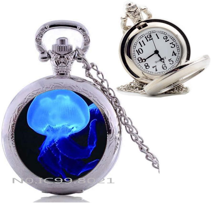 maoqunza Jelly Fish Charm Pocket Watch Necklace - Jelly Fish Jewelry- Ocean Charm - Beach Jewelry - Beach Theme Gift-RG349