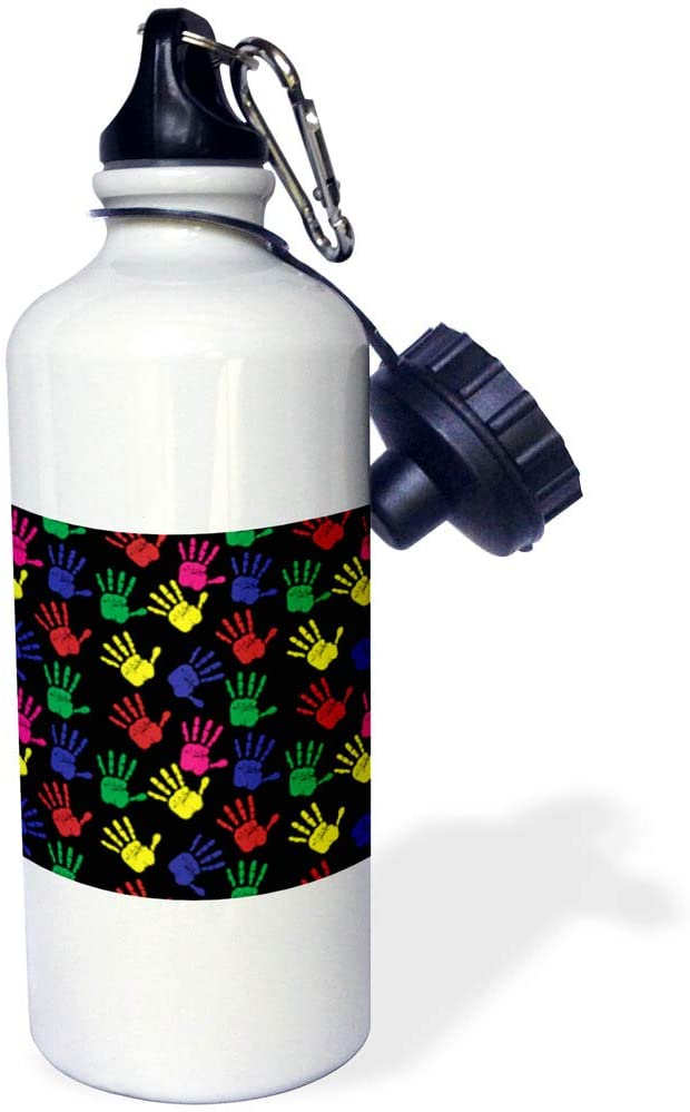 3dRose Alexis Design - Pattern Funny - Image of Yellow, red, Blue, Green Palms on Black. Funny Pattern - 21 oz Sports Water Bottle (wb_319770_1)