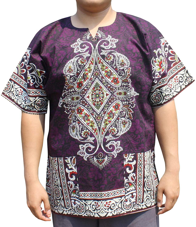 RaanPahMuang Dashiki Shirt Radiant Colors Casual Paisley Intricate Aum Print, XXXXXXX-Large, Violet