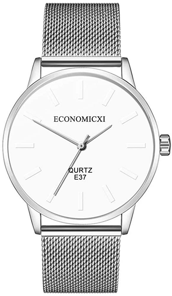 Gleamfut Men's Quartz Watches Stainless Steel Mesh Strap Exquisite Quartz Movement Business Watch D Series