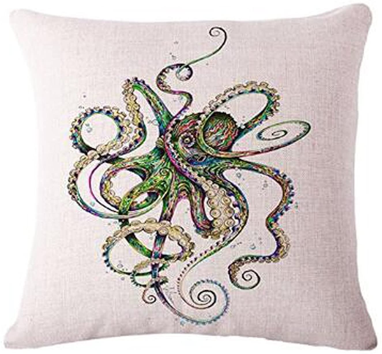 The Animal Abstract watercolor painting octopus Throw Pillow Case Cushion Cover Decorative Cotton Blend Linen Pillowcase for Sofa 18