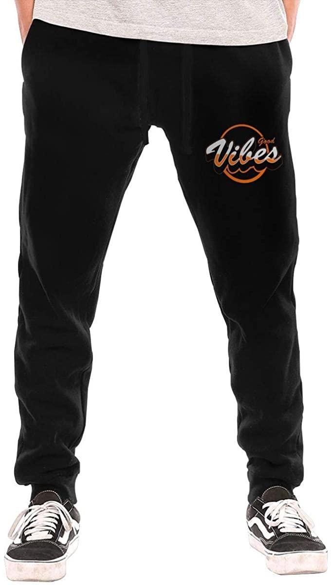 Men's Good Vibes Casual Sweatpants Black