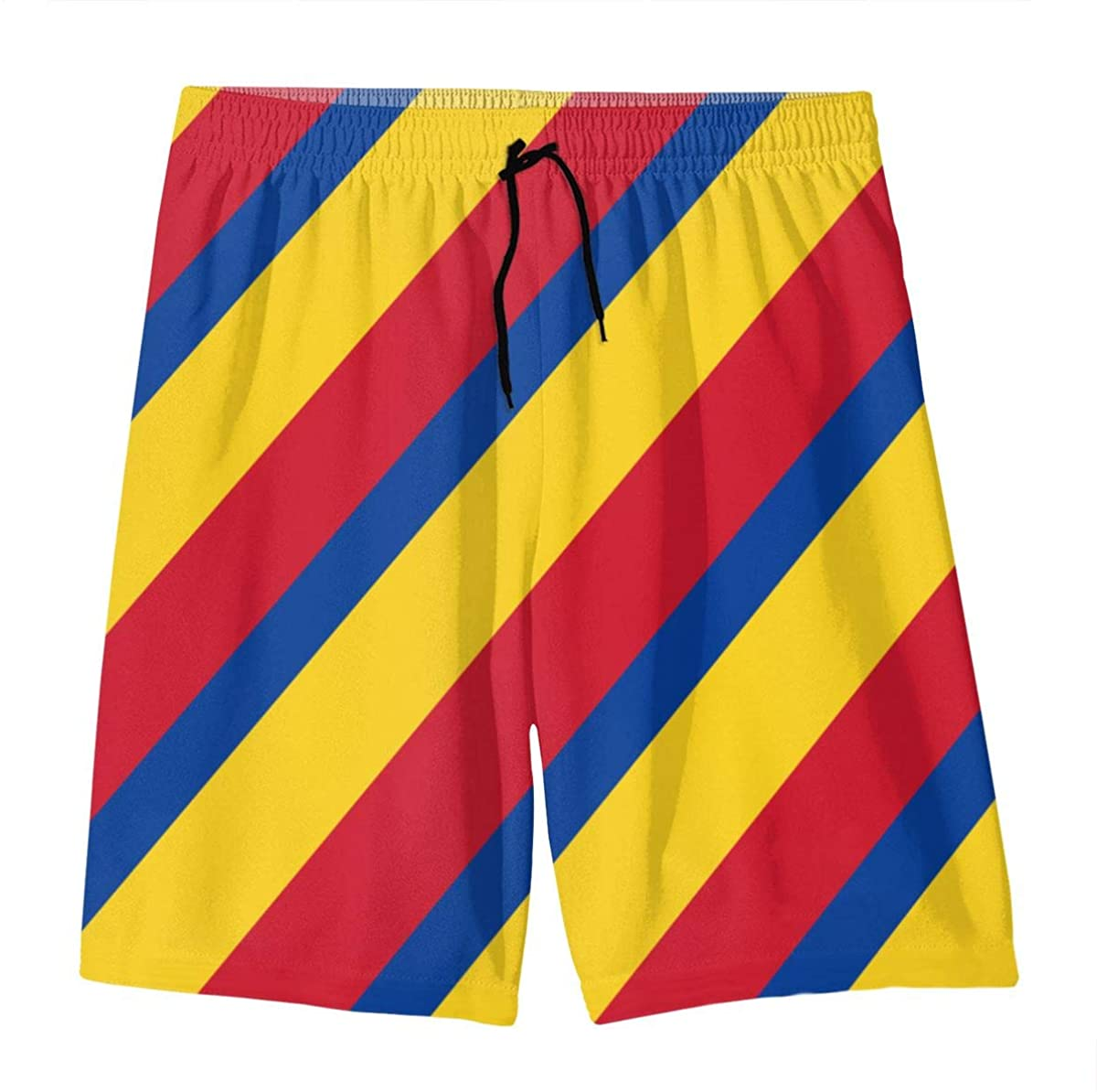 YOIGNG Colorful Colombian Flag Sexy Stripes Teens Swim Trunks Beach Shorts Surfing Board Quick Dry Bathing Suit