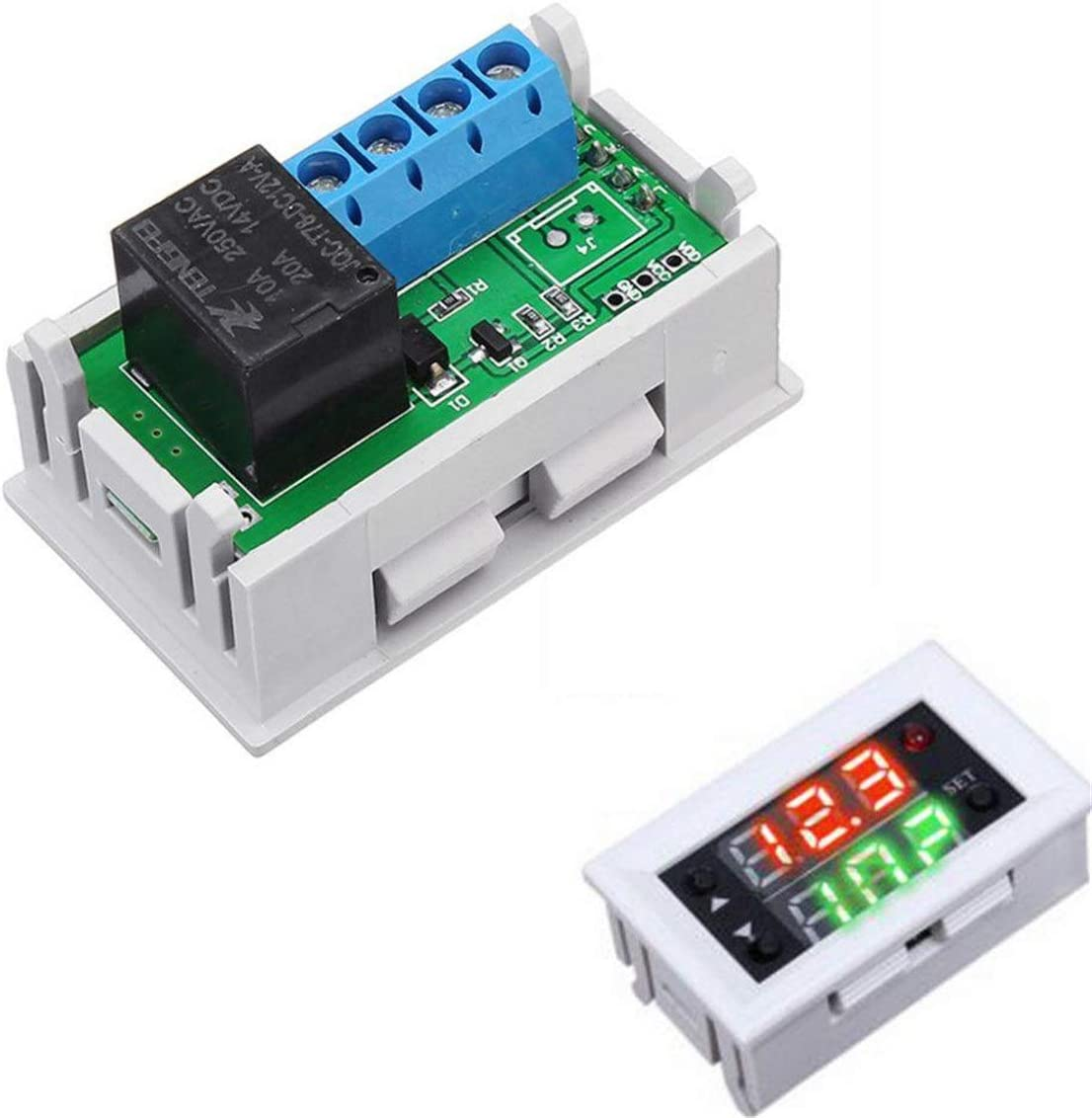 LLLNHQ 12V 20A Digital LED Dual Display Timer Relay Module with Case Timing Delay C ycle PC Board Relays
