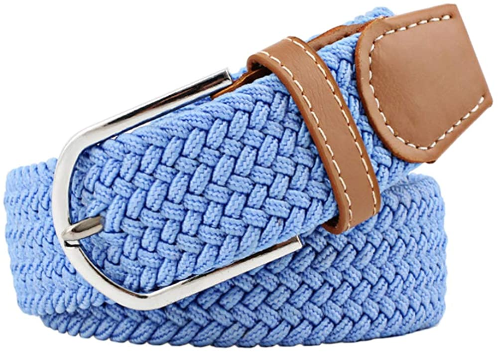 Shuxy Canvas Belt Waistband Elastic Fabric Belts Golf Belt Blue Belt Woven Stretch Belts Web Belt for Women Casual Belts Pin Oval Solid Belt Mens Braided Belts Buckle PU Leather Loop End Tip Belt