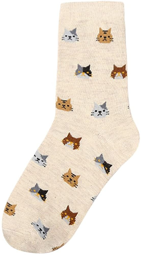 ZEFOTIM ✿ 2019 Women Sock Animal Cartoon Cat Beautiful for Women Cotton Socks 5 Colors