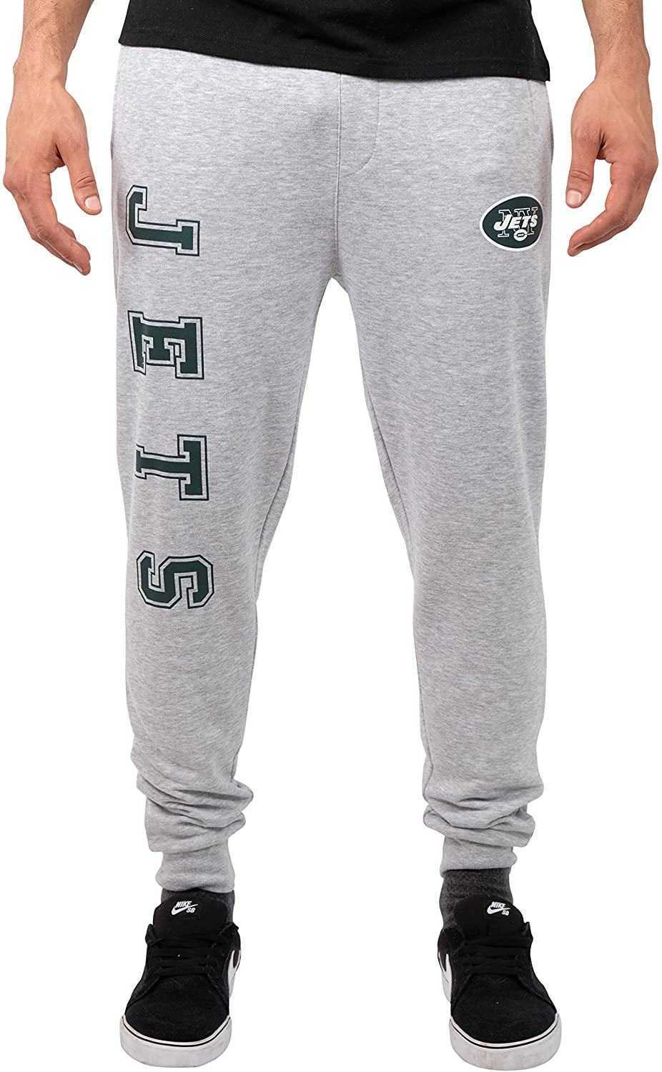Ultra Game NFL New York Jets Mens Jogger Pants Active Basic Fleece Sweatpants, Heather Gray 18, Large