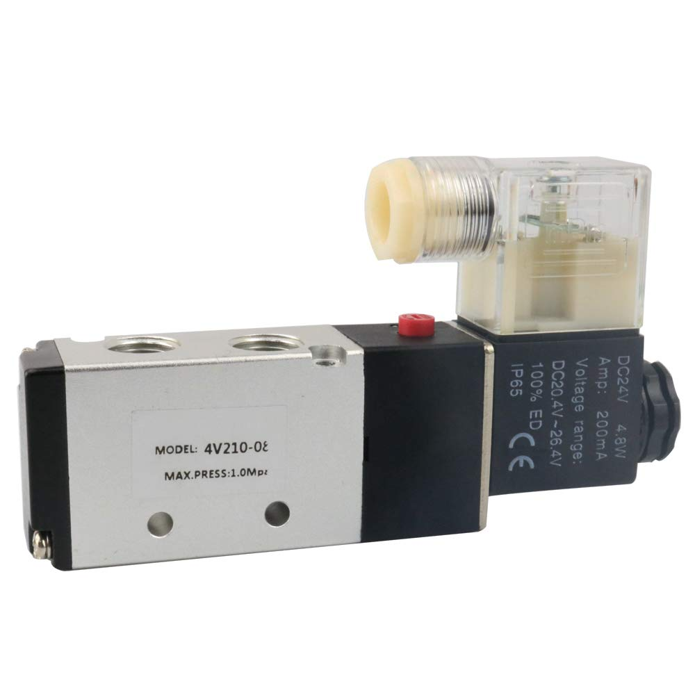 BestTong Pneumatic Air Control PT 1/4inch DC 24V Solenoid Valve 4V210-08 5 Way 2 Position Internally Piloted Acting Type Single Electrical Control
