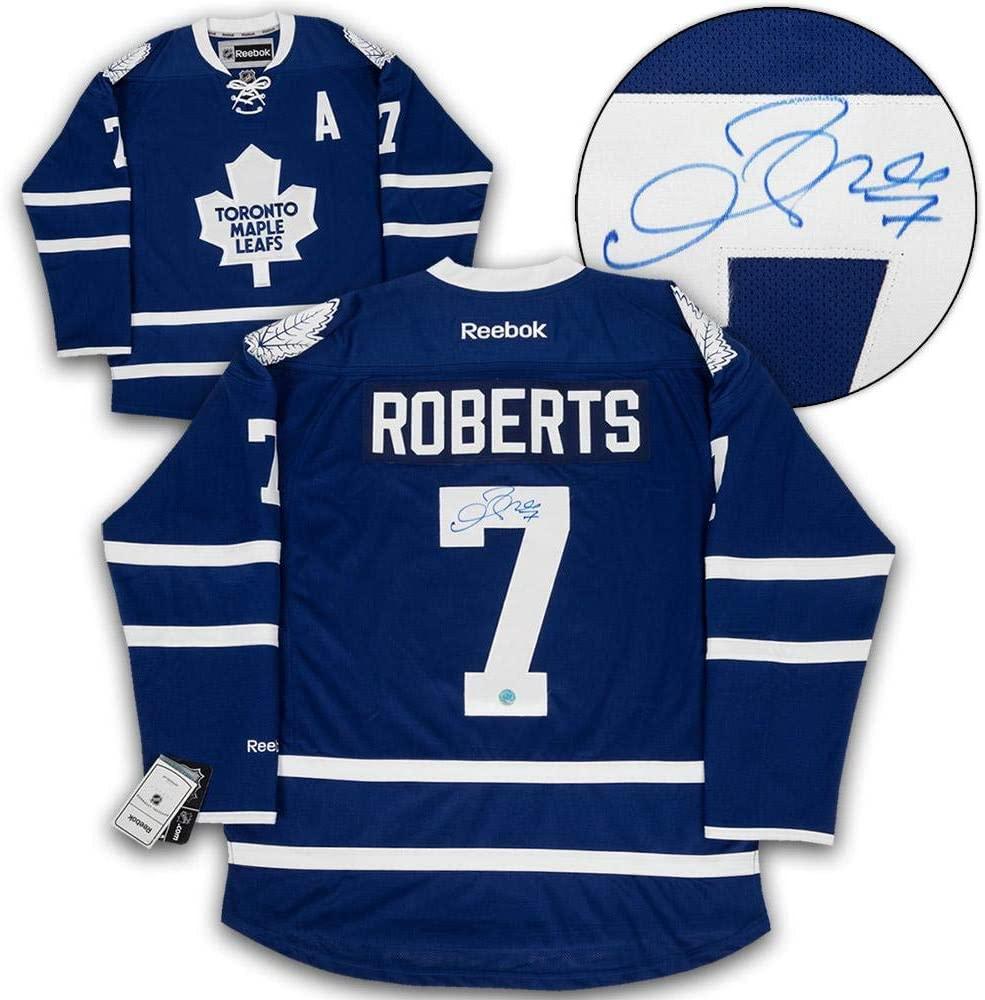 Gary Roberts Autographed Jersey - Blue Reebok Premier - Autographed NHL Jerseys
