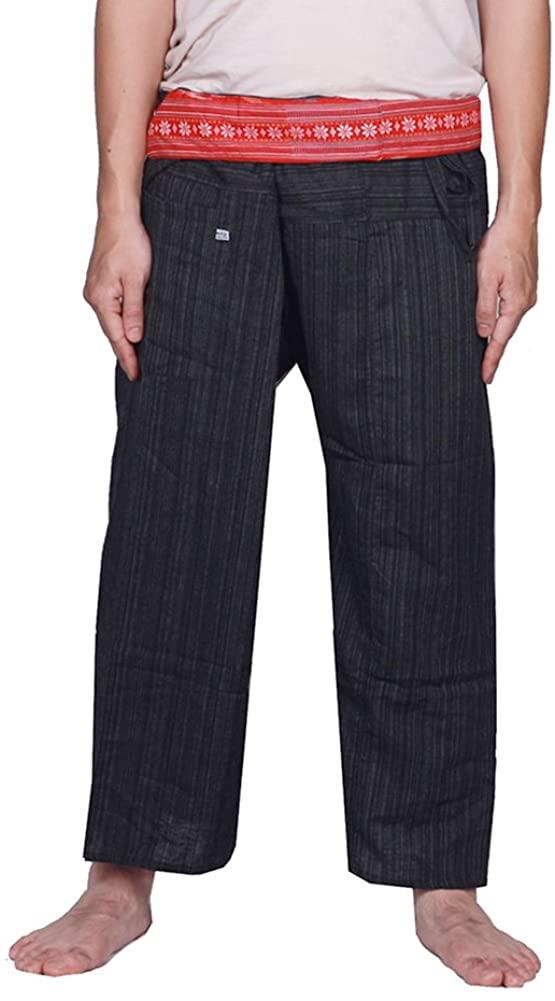 MangoNest Men's and Women's Unisex Thai Striped Fisherman Pants-Black