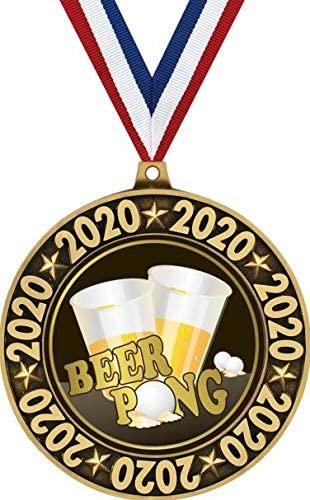 Beer Pong 2020 Perimeter Medal Gold, 2.75 Beer Pong Prizes, Great Beer Trophy Medal Awards Prime