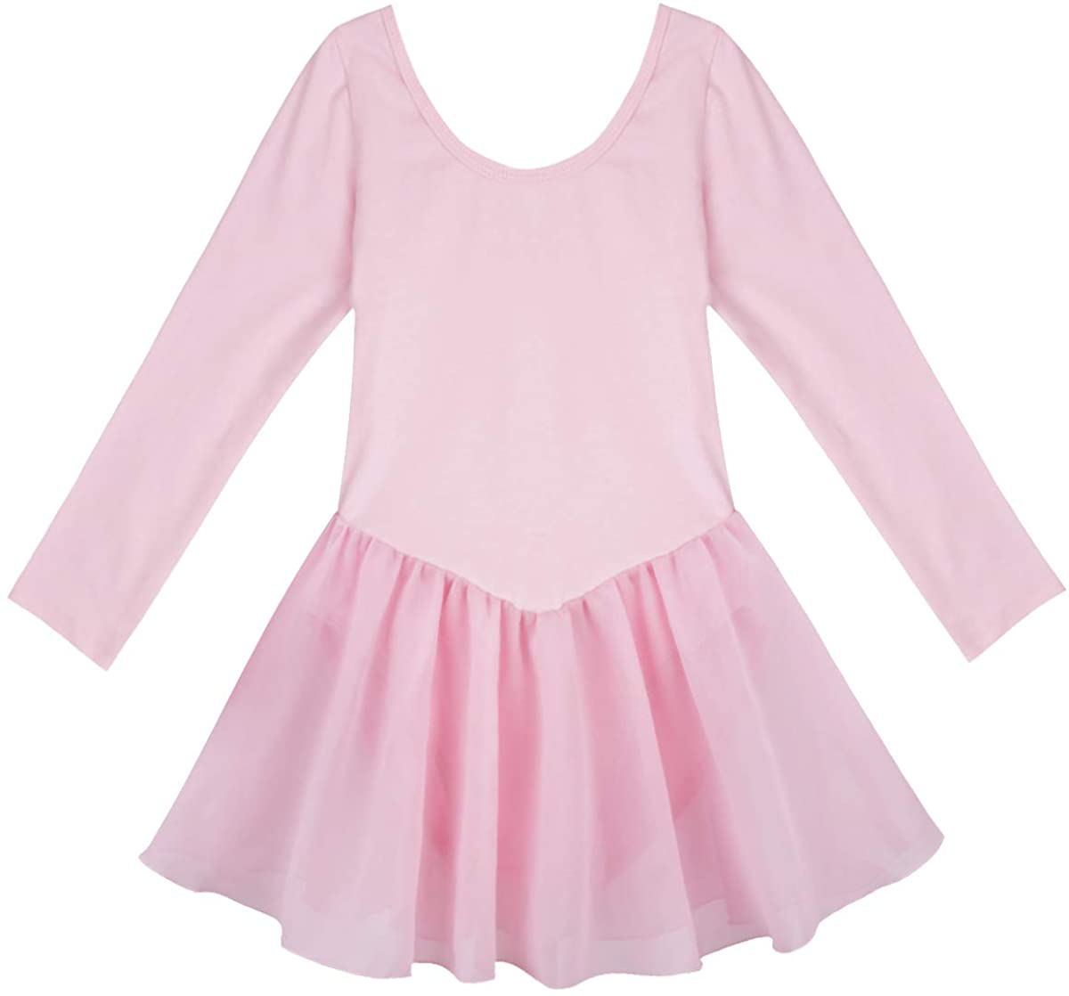 CHICTRY Girls Kids Basics Long Sleeve Ballet Dance Dresses Gymnastics Tutu Leotard Skirt