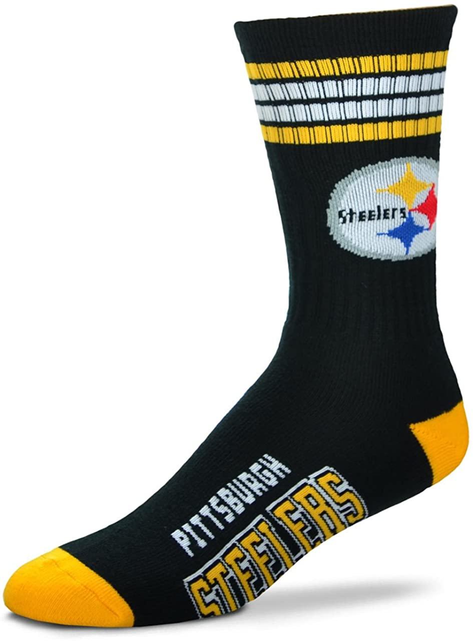 Pittsburgh Steelers 4 Stripe Deuce Crew Socks Mens Size Medium 5-10