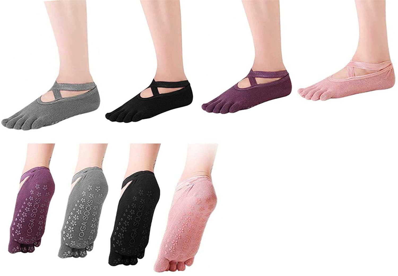 Win.Deeper Professional Yoga Socks with Grips Non Slip Pilates Barre Socks for Women, Pack of 4