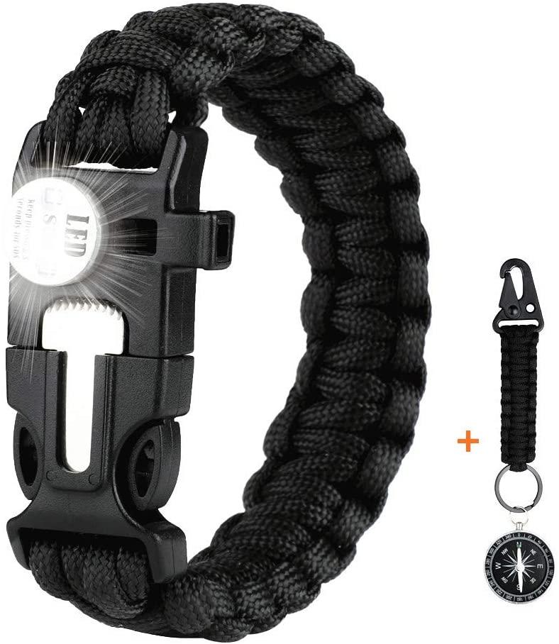 WEREWOLVES Paracord Survival Bracelet, Emergency Paracord Bracelet - Tactical Survival Gear Kit with SOS LED Light,Bigger Compass, Stainless Scrapper,Flint Fire Starter,Whistle