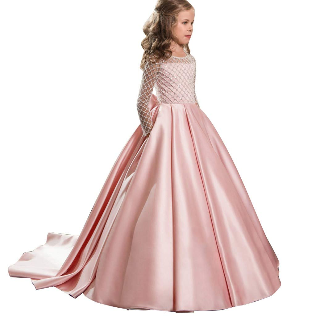 VonVonCo Kids Dresses Skirts for Girls Party Long Sleeve Tuxedo Princess Pageant Gown Party Birthday Wedding Long Dress Pink