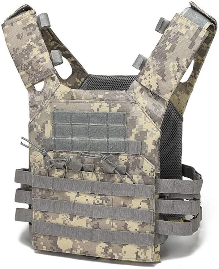 NOBUNO Tactical Vest, Multifunctional Actical Combat Vest Super Wear-Resistant Field Outdoor Equipment Protective Clothing Convenient Military Training CS Lightweight Vest,2