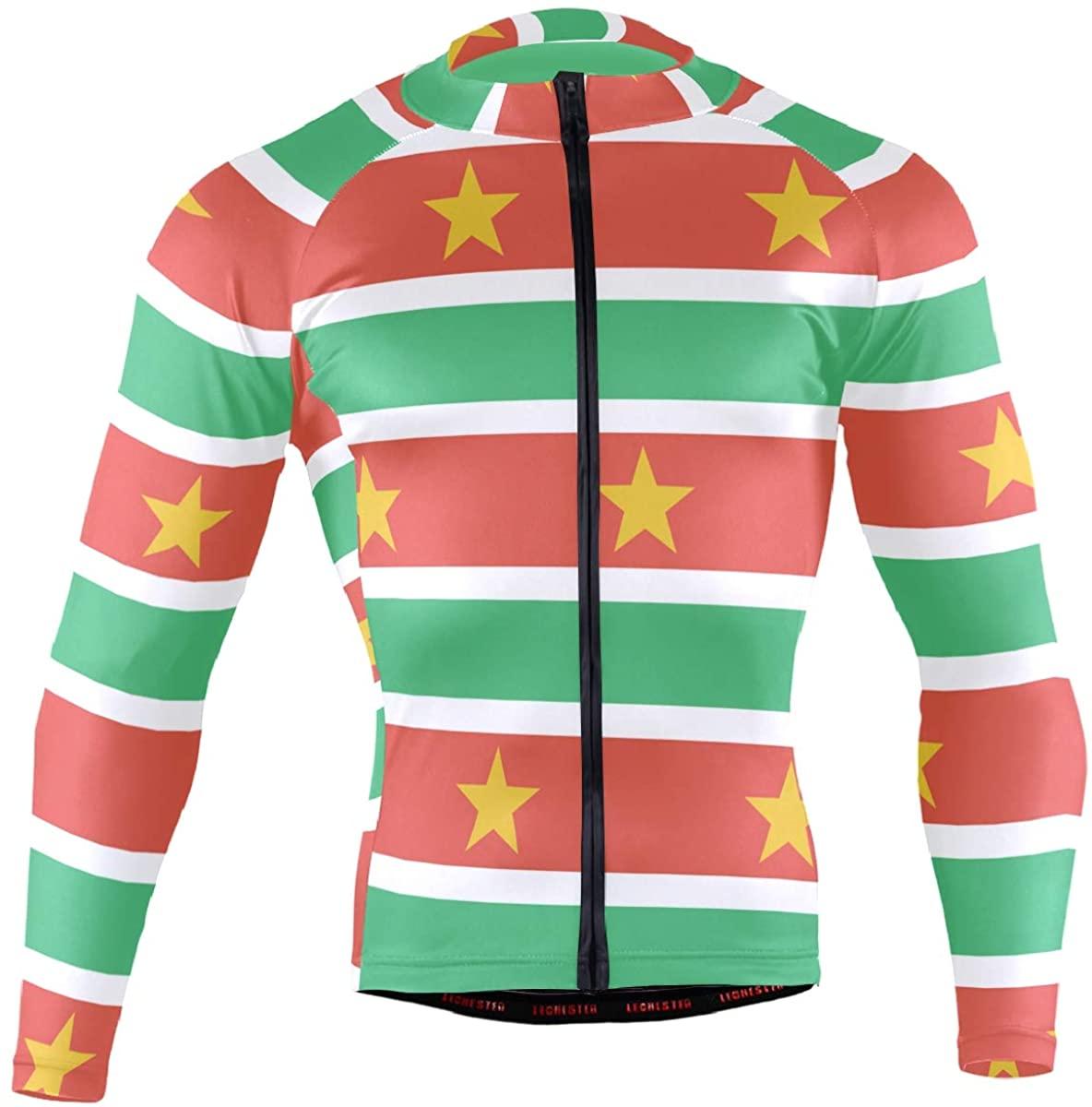 Suriname Flag Men's Long Sleeve Cycling Jersey Bicycle Jacket Pockets Full Zipper Bike Biking Shirts