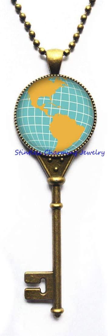 World Map Key Necklace,Globe Charm Key Necklace,Travellers Pendant,Gift for Her,Minimalist Key Necklace,World Jewelry-JV251