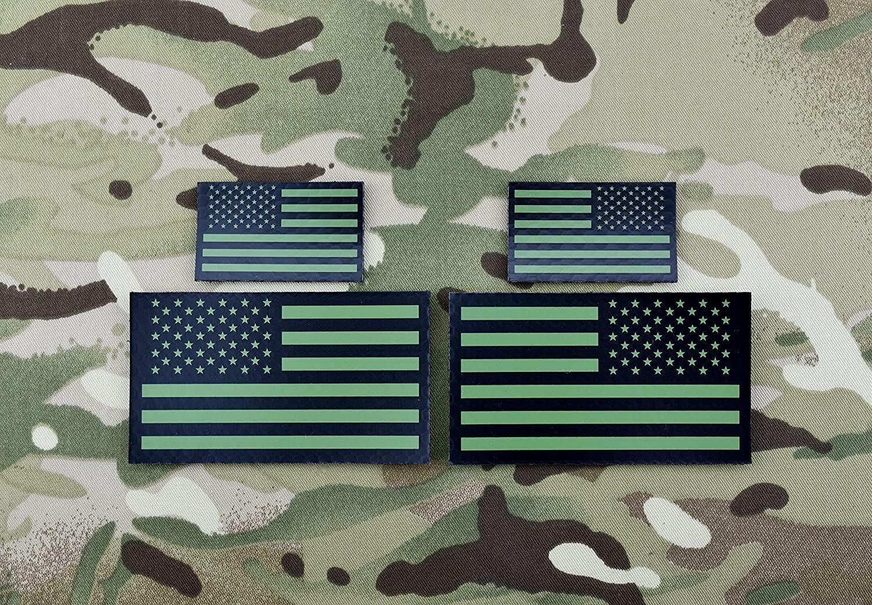 BritKitUSA Infrared US Flag Standard & Mini Full Patch Set - Green & Black