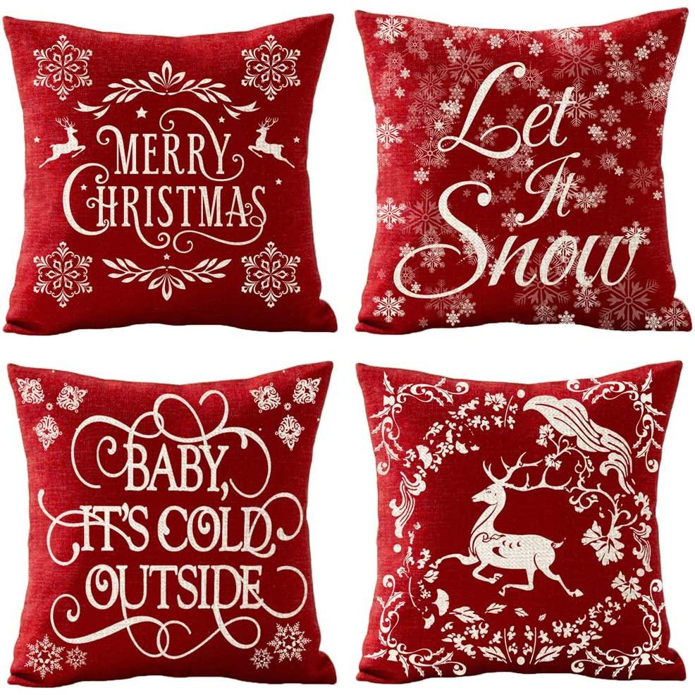 QINU KEONU Set of 4 Merry Christmas Let It Snow Euporean Pattern Christmas Deer Snowflakes Cotton Linen Throw Pillow Case Cushion Cover Home Sofa Decorative 18 X 18 Inch